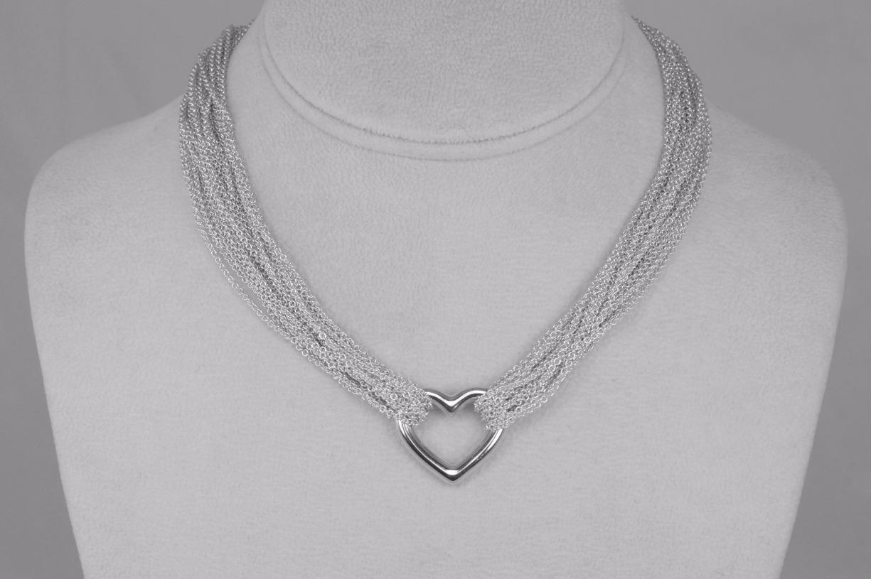 Tiffany & Co Mesh Chain Silver Heart Necklace