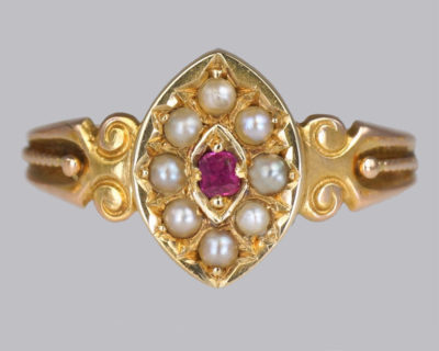 Victorian 15ct Gold Ruby & Pearl Ring
