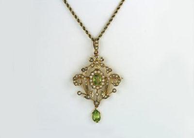 Belle Epoch Peridot & Pearl Pendant / Brooch