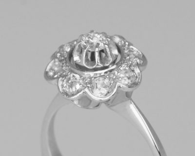 Retro 18ct Gold Diamond French Cluster Ring