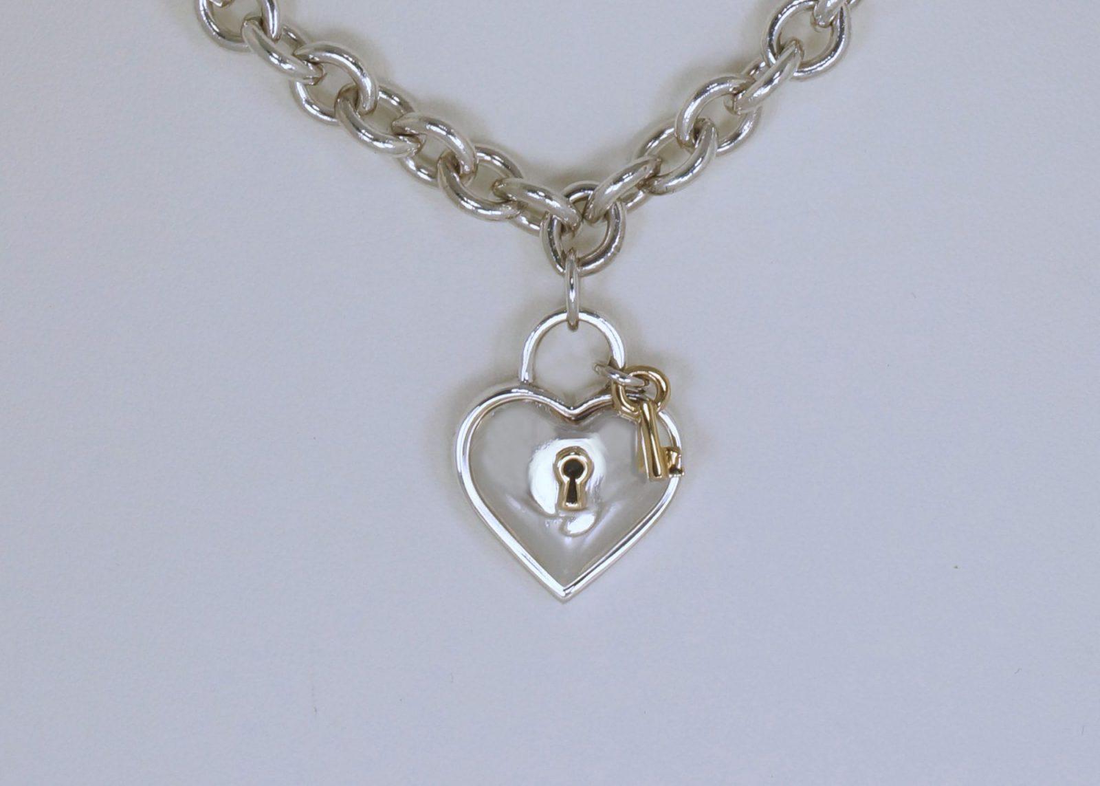 Tiffany padlock necklace with key