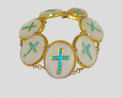 Victorian Turquoise 18ct Gold Crucifix Bracelet