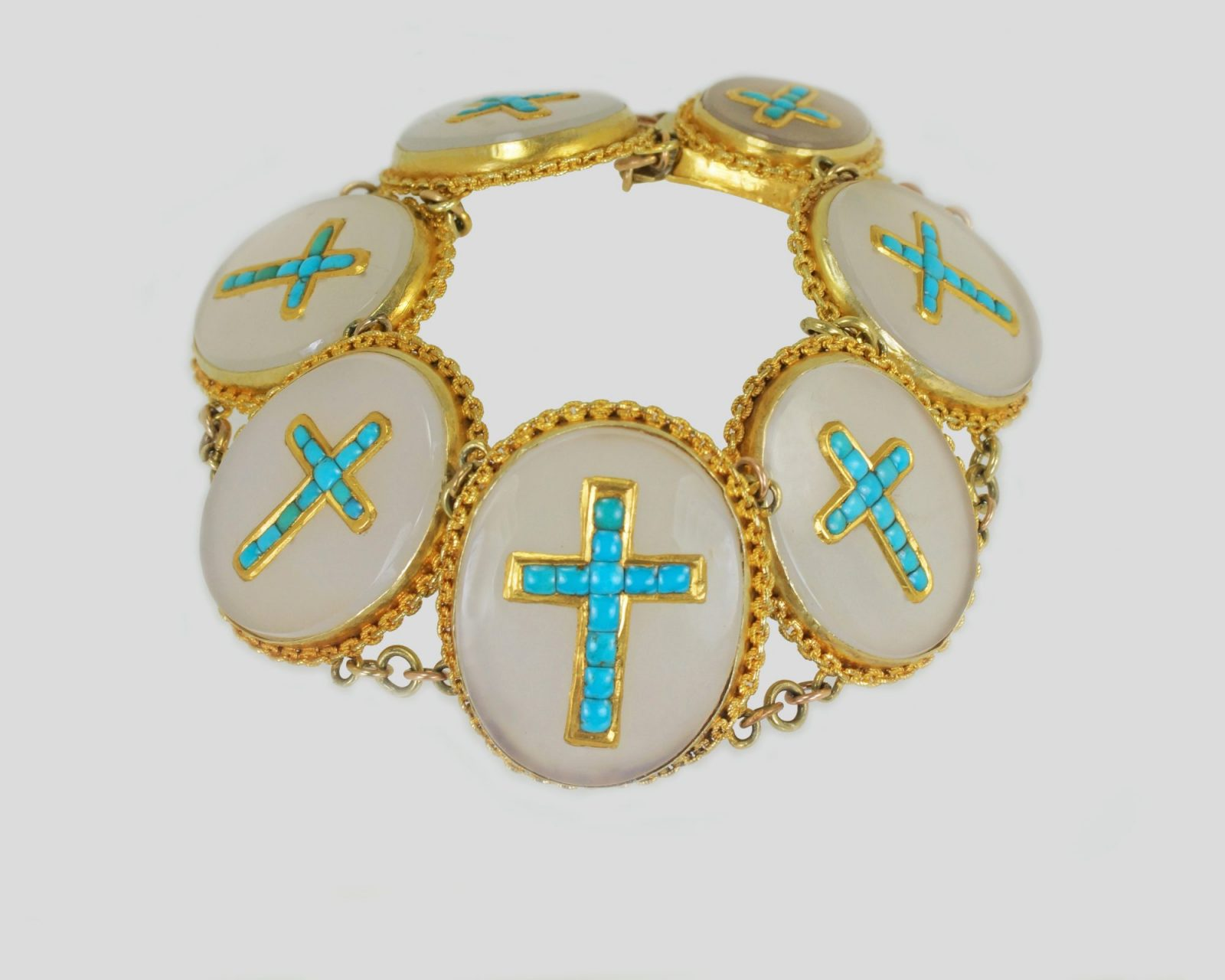 Victorian Turquoise 18ct Gold Crucifix Bracelet
