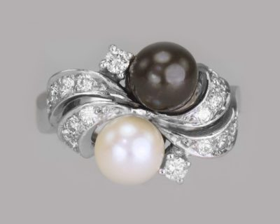 Vintage Tahitian Pearl  Toi & Moi & Diamond Twist Ring