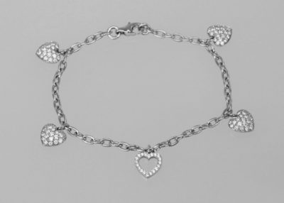 Tiffany Diamond Heart Platinum Charm Bracelet