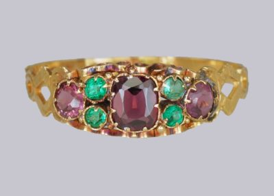 Amethyst & Emerald Victorian Ring