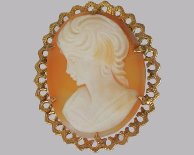 Vintage 9ct Gold Cameo Brooch Carved Shell Brooch Hallmarked Birmingham 1972