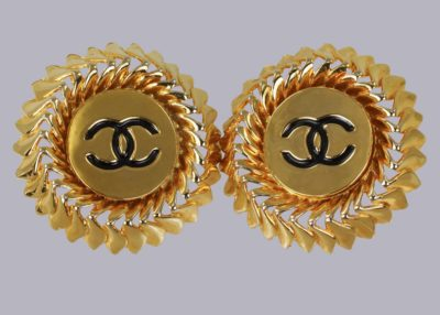 Chanel CC Earrings Huge Vintage Earrings