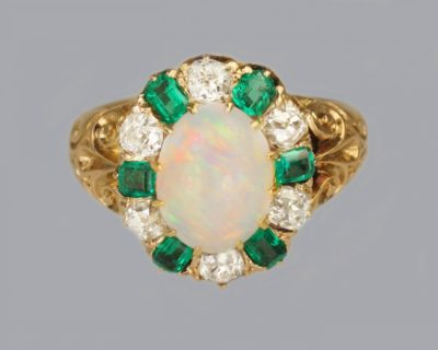 Victorian Opal,Emerald & Diamond Cluster Ring