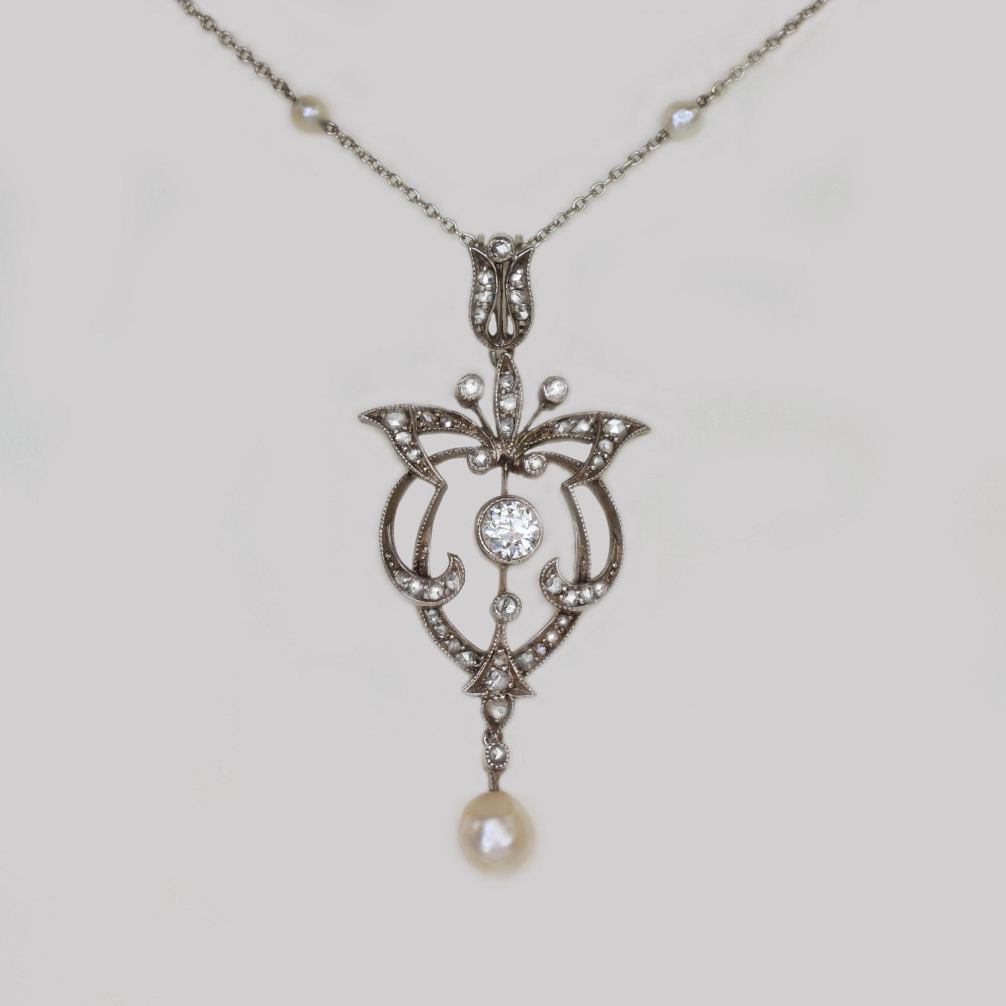Edwardian Diamond & Pearl Platinum Pendant