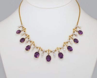 Amethyst Pearl & Goshenite Garland Antique Fringe Necklace