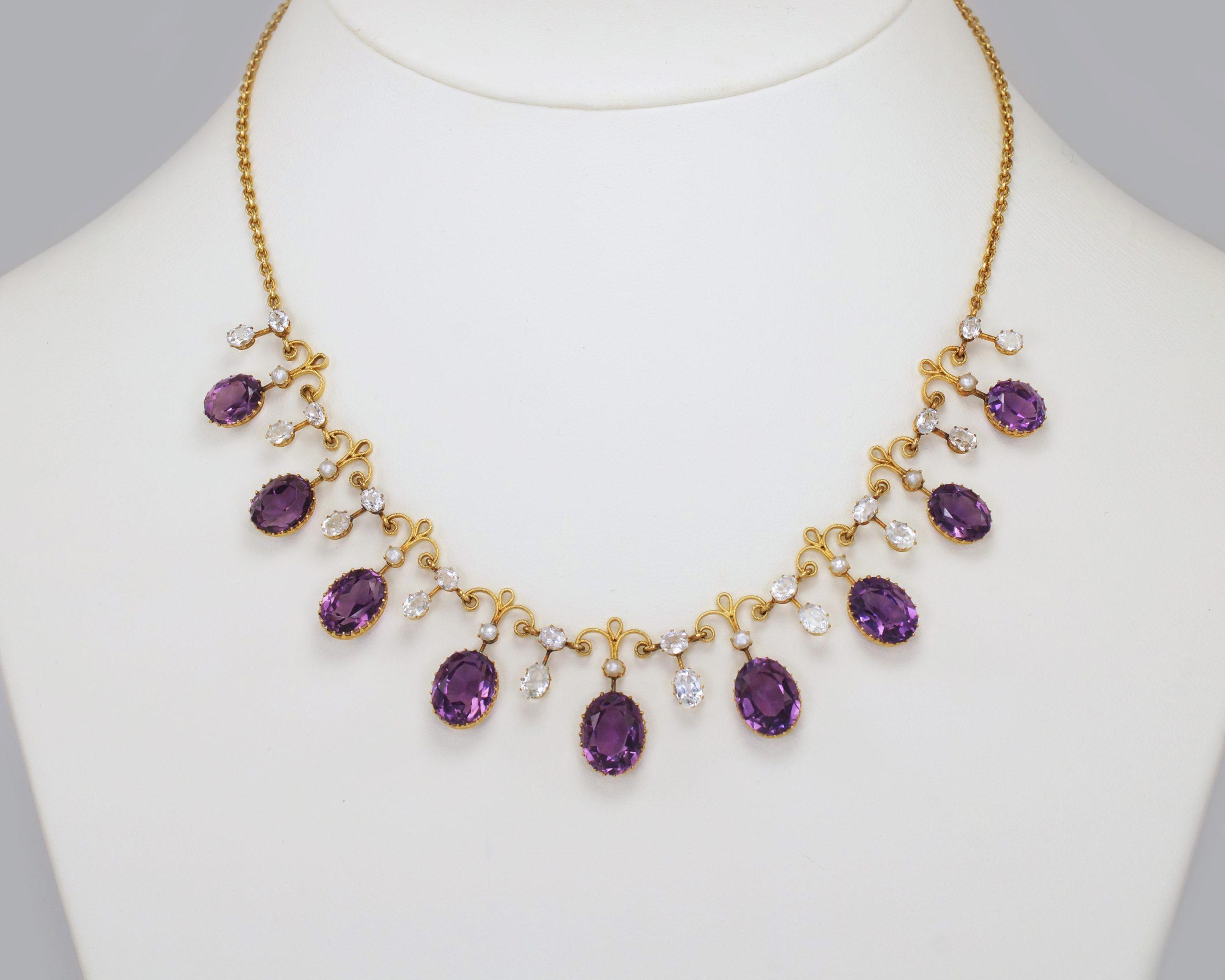 antique fringe necklace looks fabulous when worn