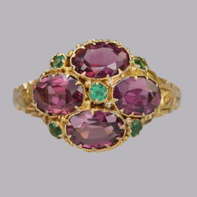 Victorian Garnet & Emerald Ring 1869