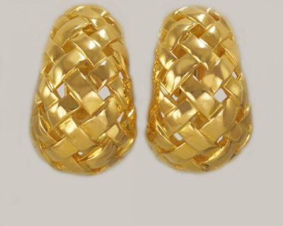 Tiffany & Co.18ct Gold Basketweave Earrings