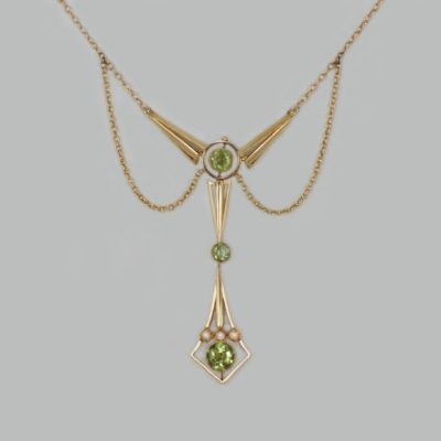 Edwardian Peridot & Pearl Lavaliere Necklace