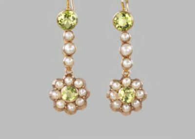 Victorian Peridot & Seed Pearl Dangle Earrings