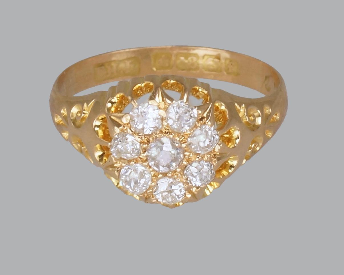 Edwardian Old Cut Diamond Cluster Ring