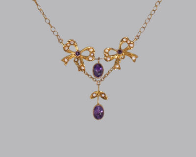 Belle Epoque Pearl & Amethyst 15k Necklace