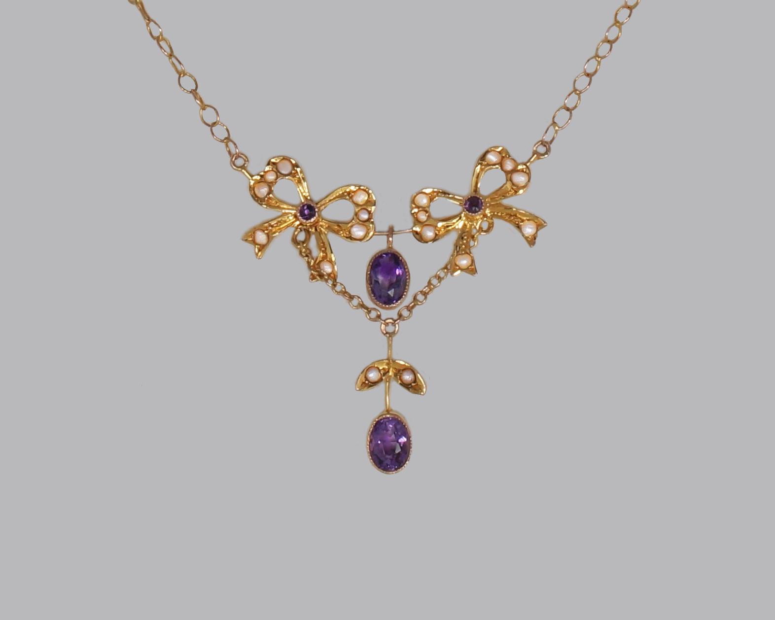 Belle Epoque Pearl Amethyst 15k Necklace