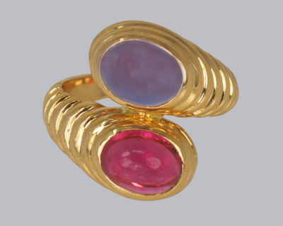 Bulgari Ring Ioloite & Tourmaline Bypass Ring