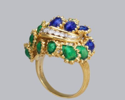 Kutchinsky Diamond & Enamel Bombé Ring