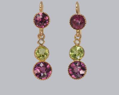Suffragett Earrings Peridot Pearl & Amethyst