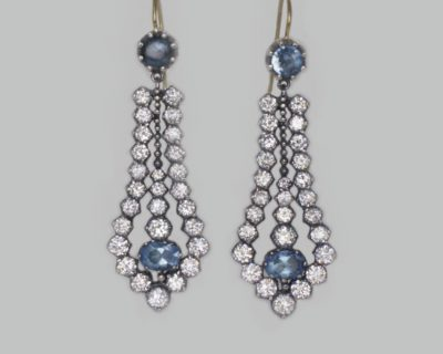 Antique Paste & Topaz Chandelier Earrings