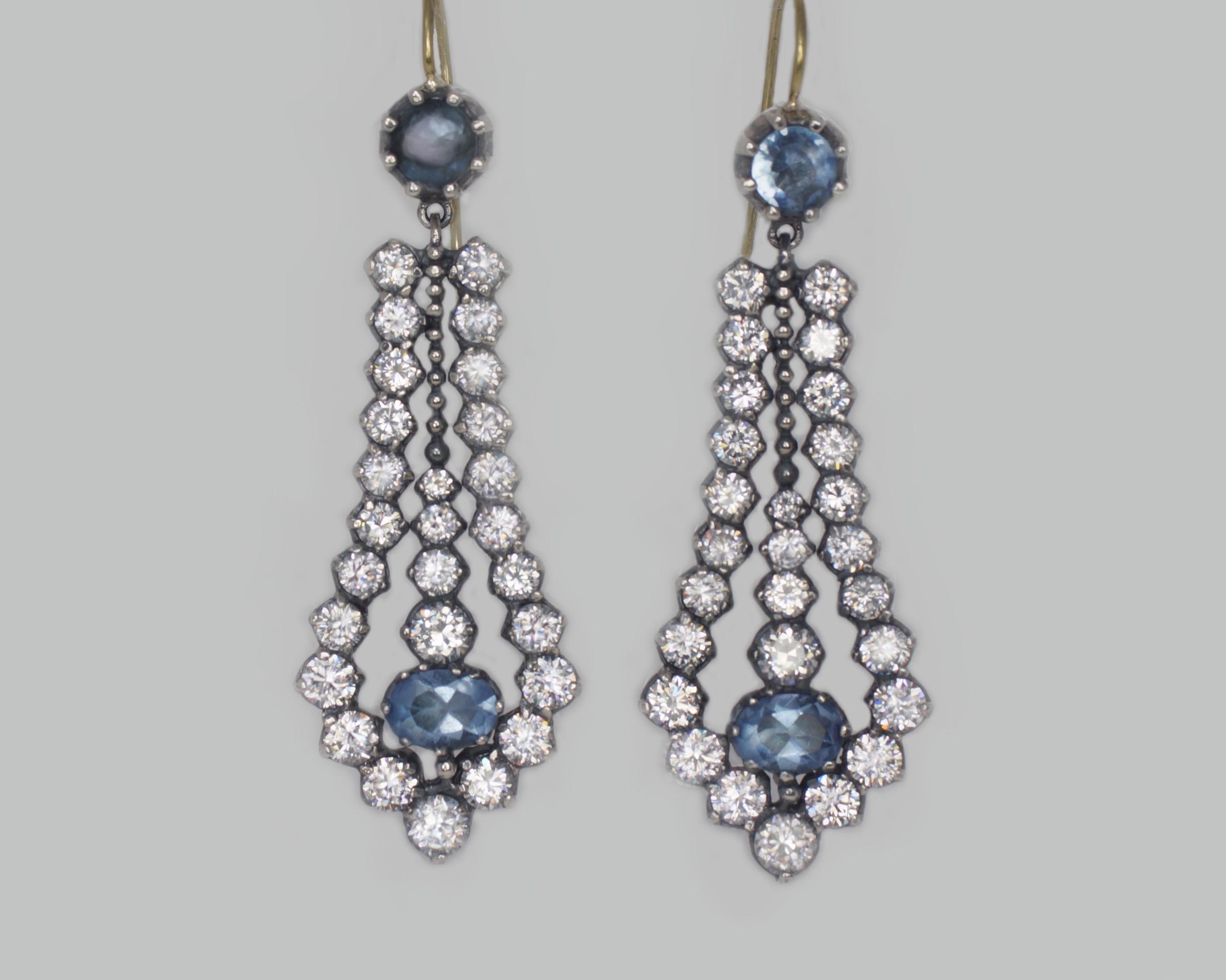 Antique Paste & Topaz Chandelier Earrings