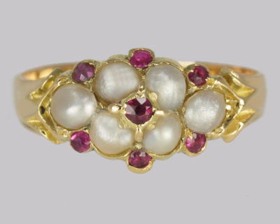Victorian Ruby & Pearl Ring