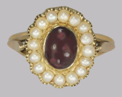 Victorian Garnet & Pearl 18ct Gold Ring