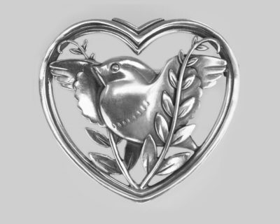 Georg Jensen Robin in a Heart Brooch