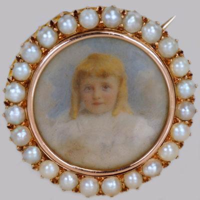 Victorian Child Portrait 18ct Gold Hair Locket Brooch