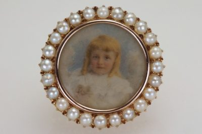 Victorian Child Portrait 18ct Gold Hair Locket
