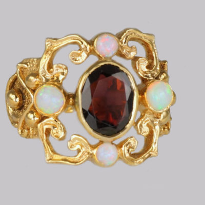 Vintage Red Garnet & Opal Rose Gold Ring