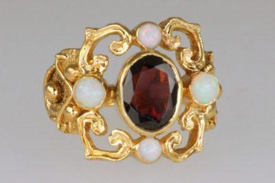 Vintage Red Garnet & Opal Rose Gold Ring