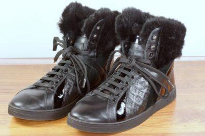 Louis Vuitton Hi-Top Black Leather & Fur Boots