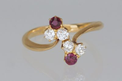 Antique Ruby & Old Cut Diamond Ring