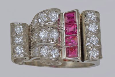 Diamond & Ruby 1940's Large Retro Ring
