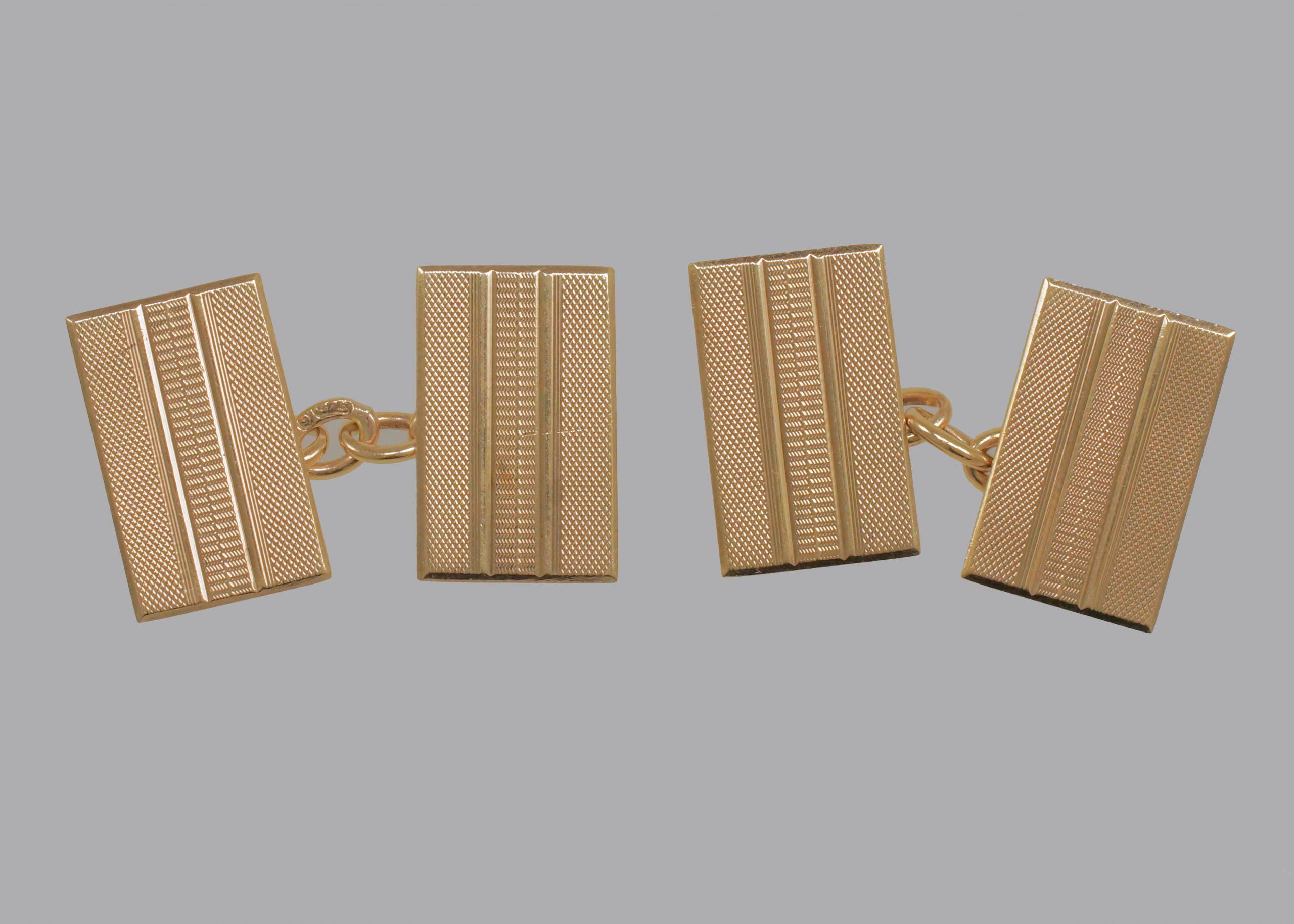 Art Deco Cufflinks 9ct Gold Engine Turned