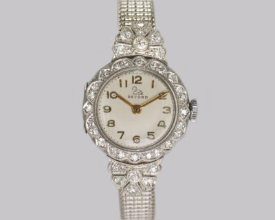 Ladies Diamond Platinum Record Bracelet Watch
