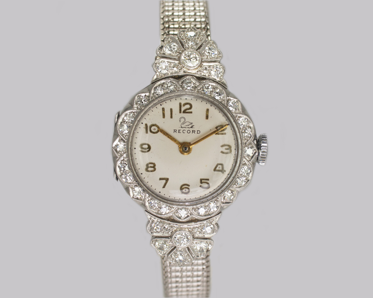 Ladies Diamond Platinum Record Bracelet Watch