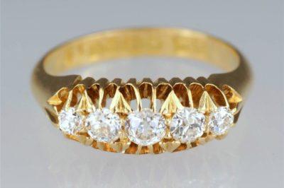 Edwardian Diamond 18ct Gold 5 Stone Ring
