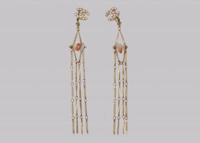 Chanel Crystal CC Tassel Earrings