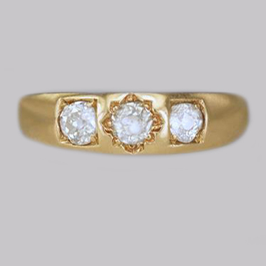 Victorian Old Cut Diamond Gypsy Trilogy Ring