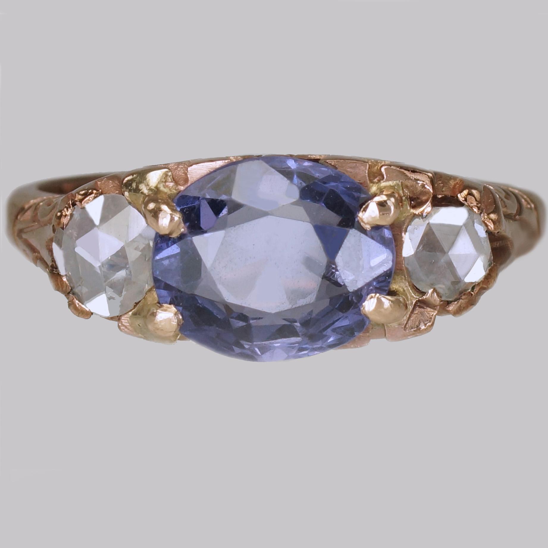 Sapphire & Rose Cut Diamond Victorian Ring