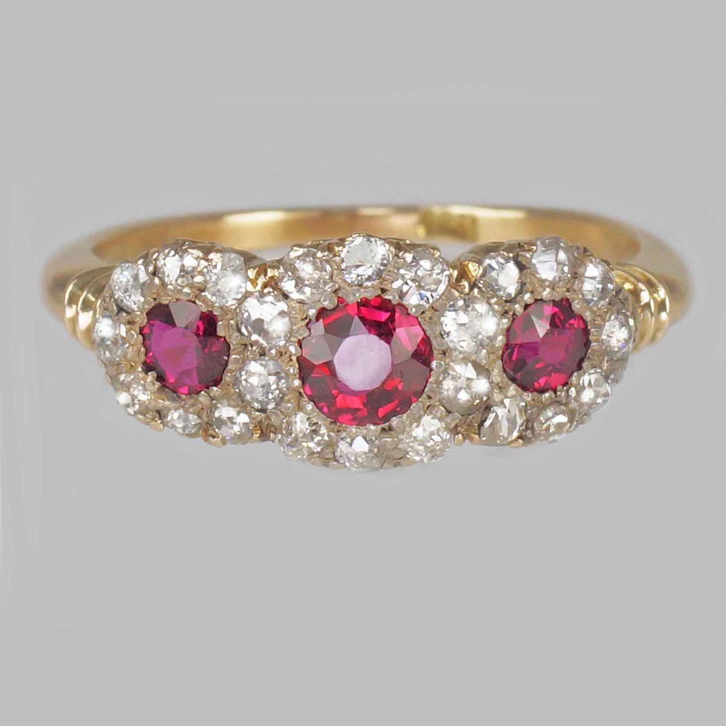 Ruby & Diamond Triple Cluster Victorian Ring