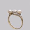 Gorgeous 18 Carat gold pearl & diamond trilogy ring
