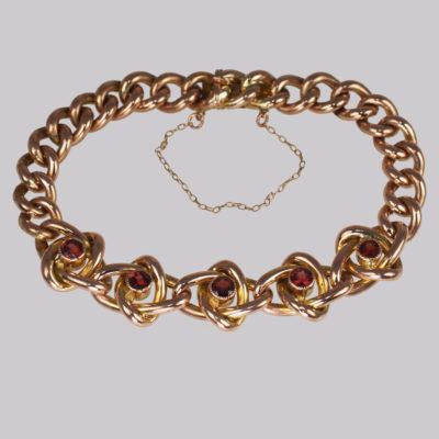 Victorian Garnet Knot & Curb Link Bracelet