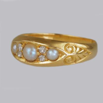 Victorian Pearl & Diamond Boat Ring