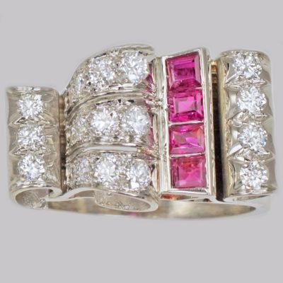 Diamond & Ruby 1940's Large Retro Ring